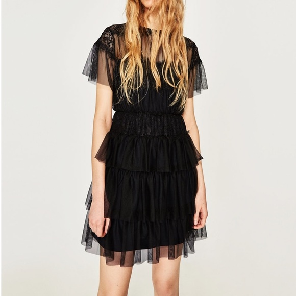 Zara Dresses Black Short Tulle Lace Dress Poshmark